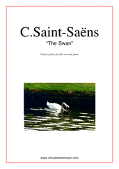 Cover icon of The Swan sheet music for alto saxophone and piano by Camille Saint-Saens, classical score, easy