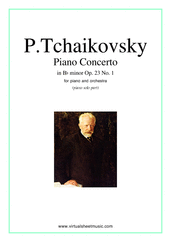 Cover icon of Concerto in Bb minor Op.23 No.1 sheet music for piano and orchestra by Pyotr Ilyich Tchaikovsky, classical score, advanced orchestra