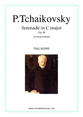 Cover icon of Serenade in C major Op.48 (f.score) sheet music for string orchestra by Pyotr Ilyich Tchaikovsky, classical score, advanced skill level