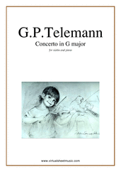 Cover icon of Concerto in G major sheet music for violin and piano by Georg Philipp Telemann, classical score, easy violin