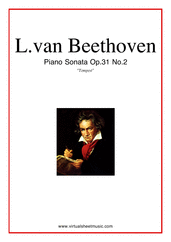 "Cover icon of Sonata Op.31 No.2 ""Tempest"" sheet music for piano solo by Ludwig van Beethoven, classical score, advanced"