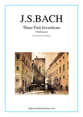 Cover icon of Three Part Inventions (Sinfonias) sheet music for string trio by Johann Sebastian Bach, classical score, intermediate/advanced string trio