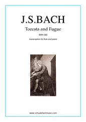 Cover icon of Toccata and Fugue in D minor BWV 565 sheet music for flute and piano by Johann Sebastian Bach, classical score, intermediate/advanced