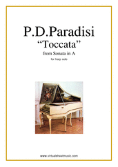 Cover icon of Toccata sheet music for harp solo by Pietro Domenico Paradisi, classical score, easy skill level