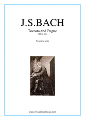 free Toccata and Fugue in D minor BWV 565 for piano solo - free intermediate sheet music