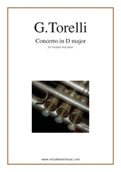 Cover icon of Concerto in D major sheet music for trumpet and piano by Giuseppe Torelli, classical score, advanced
