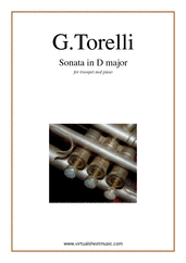 Cover icon of Sonata in D major sheet music for trumpet and piano by Giuseppe Torelli, classical score, intermediate skill level