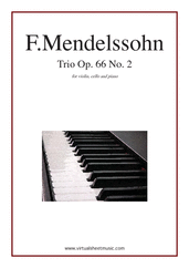 Cover icon of Trio Op.66 No.2 sheet music for violin, cello and piano by Felix Mendelssohn-Bartholdy, classical score, advanced violin,