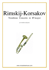 Cover icon of Concerto in Bb major sheet music for trombone and piano by Nikolai Rimsky-Korsakov, classical score, intermediate/advanced skill level