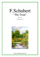 Cover icon of The Trout, Piano Quintet Op.114 (parts) sheet music for piano quintet by Franz Schubert, classical score, advanced skill level
