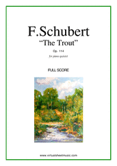 Cover icon of The Trout, Piano Quintet Op.114 (f.score) sheet music for piano quintet by Franz Schubert, classical score, advanced