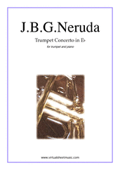 Cover icon of Concerto in Eb major sheet music for trumpet and piano by Johann Baptist Georg Neruda, classical score, intermediate skill level