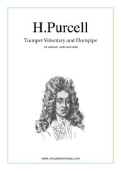Cover icon of Trumpet Voluntary and Hornpipe sheet music for clarinet, violin and cello by Henry Purcell, classical wedding score, easy/intermediate