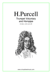 Cover icon of Trumpet Voluntary and Hornpipe sheet music for flute, violin and cello by Henry Purcell, classical wedding score, easy/intermediate skill level