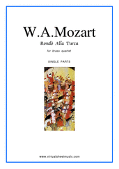 "Cover icon of Rondo ""Alla Turca"" (parts) sheet music for brass quartet by Wolfgang Amadeus Mozart, classical score, intermediate/advanced brass quartet"