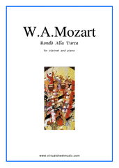"Cover icon of Rondo ""Alla Turca"" sheet music for clarinet and piano by Wolfgang Amadeus Mozart, classical score, intermediate skill level"