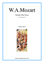 "Cover icon of Rondo ""Alla Turca"" (parts) sheet music for string quartet by Wolfgang Amadeus Mozart, classical score, intermediate/advanced"