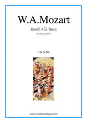 "Cover icon of Rondo ""Alla Turca"" (f.score) sheet music for string quartet by Wolfgang Amadeus Mozart, classical score, intermediate/advanced"