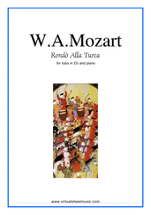 "Cover icon of Rondo ""Alla Turca"" sheet music for tuba in Eb and piano by Wolfgang Amadeus Mozart, classical score, intermediate tuba"