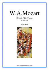 "Cover icon of Rondo ""Alla Turca"" (parts) sheet music for wind octet by Wolfgang Amadeus Mozart, classical score, intermediate/advanced skill level"