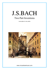 Cover icon of Two Part Inventions sheet music for two cellos by Johann Sebastian Bach