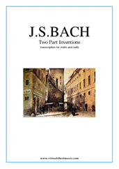 Cover icon of Two Part Inventions sheet music for violin and cello by Johann Sebastian Bach, classical score, intermediate duet