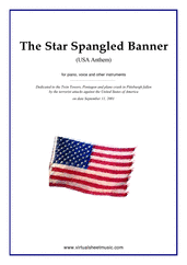 free The Star Spangled Banner (in C) - USA Anthem for piano, voice or other instruments - free flute sheet music