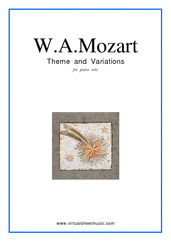 Cover icon of Theme and Variations K265 sheet music for piano solo by Wolfgang Amadeus Mozart, classical score, easy skill level