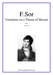 Cover icon of Variations On A Theme Of Mozart Op.9 sheet music for guitar solo by Fernando Sor, classical score, intermediate