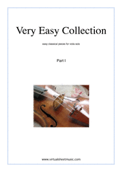 Cover icon of Very Easy Collection, part I sheet music for viola solo, classical score, beginner