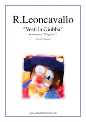 Cover icon of Vesti la Giubba from the opera I Pagliacci sheet music for tenor and piano by Ruggero Leoncavallo, classical score, intermediate skill level