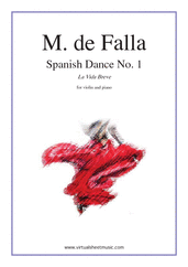 Cover icon of Spanish Dance No. 1 (La Vida Breve) sheet music for violin and piano by Manuel de Falla, classical score, advanced