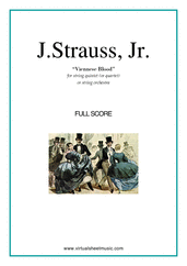 Cover icon of Viennese Blood (f.score) sheet music for string quintet (quartet) or string orchestra by Johann Strauss, Jr., classical score, intermediate skill level