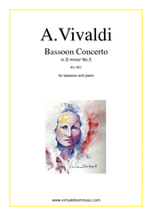 Cover icon of Concerto in D minor RV 481 sheet music for bassoon and piano by Antonio Vivaldi, classical score, intermediate skill level