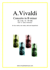 Cover icon of Concerto in B minor Op.3 No.10 RV 580 (parts) sheet music for four violins, strings and harpsichord by Antonio Vivaldi, classical score, intermediate/advanced skill level