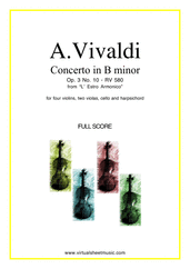 Cover icon of Concerto in B minor Op.3 No.10 RV 580 (f.score) sheet music for four violins, strings and harpsichord by Antonio Vivaldi, classical score, intermediate/advanced four