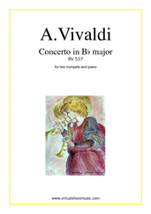Concerto in Bb major RV 537 for two trumpets and piano - classical concerto sheet music