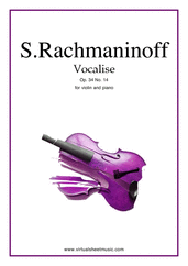 Cover icon of Vocalise Op.34 No.14 sheet music for violin and piano by Serjeij Rachmaninoff, classical score, intermediate/advanced