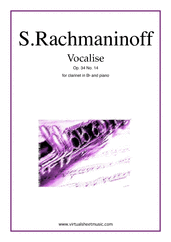 Cover icon of Vocalise Op.34 No.14 sheet music for clarinet and piano by Serjeij Rachmaninoff, classical score, intermediate
