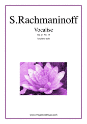 Cover icon of Vocalise Op.34 No.14 sheet music for piano solo by Serjeij Rachmaninoff, classical score, intermediate/advanced