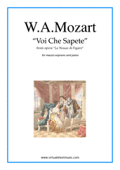 Cover icon of Voi Che Sapete, from the opera Le Nozze di Figaro sheet music for mezzo soprano and piano by Wolfgang Amadeus Mozart, classical score, intermediate skill level