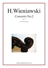 Cover icon of Concerto No.2 Op.22 sheet music for violin and piano by Henry Wieniawski, classical score, advanced violin