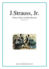 Cover icon of Waltzes, Polkas and Mazurkas sheet music for piano solo by Johann Strauss, Jr., classical score, intermediate