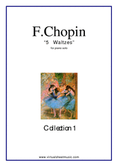 Cover icon of Waltzes (collection 1) sheet music for piano solo by Frederic Chopin, classical score, intermediate skill level