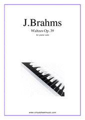 Cover icon of Waltzes Op.39 sheet music for piano solo by Johannes Brahms, classical score, intermediate skill level