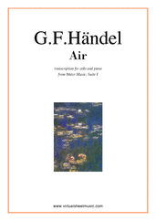 Cover icon of Air from Water Music sheet music for cello and piano by George Frideric Handel, classical wedding score, easy skill level