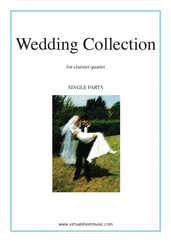 Cover icon of Wedding Sheet Music for three clarinets and bass clarinet, classical wedding score, intermediate