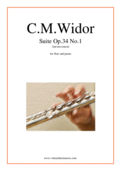 Cover icon of Suite Op.34 No.1, 2nd movement sheet music for flute and piano by Charles Marie Widor, classical score, intermediate/advanced